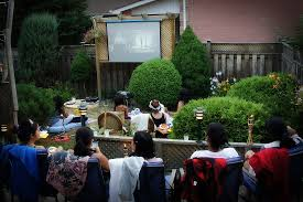 an easy backyard movie night sanctuary home image with fascinating