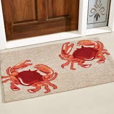 accent rug natural red crabs indoor outdoor rugs