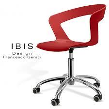 chaise de roulettes chaise design de bureau à roulettes ibis assise coque couleur