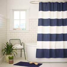 Brown And White Shower Curtains And White Wide Stripe Shower Curtain