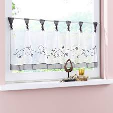 Curtains Kitchen Uphome 1pcs Cute Embroidered Floral Window Tier Curtain Kitchen