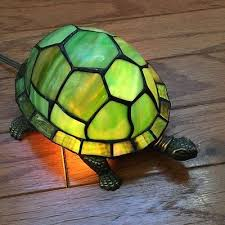 stained glass turtle lamp night light tiffany style bronze table