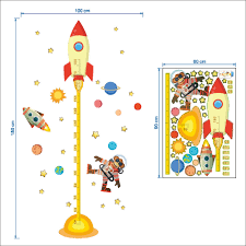 aliexpress com buy diy outer space planet monkey pilot rocket aliexpress com buy diy outer space planet monkey pilot rocket home decal height measure wall sticker for kids room baby nursery growth chart gifts from