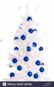 white christmas tree and blue balls white background stock photo