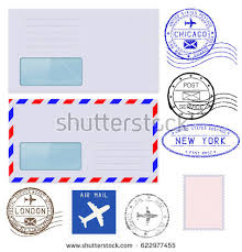 retro postage stamps collection realistic envelope stock vector