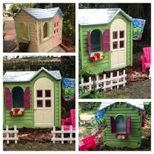playhouse i bought for 25 and painted with valspar spray paint