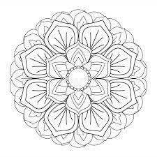 outline mandala for coloring book decorative ornament stock