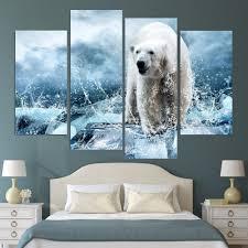 2017 4 piece wall painting iceberg polar bear home decorative art