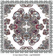 vector clipart of traditional ornamental floral paisley bandana