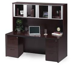 mayline corsica series mahogany credenza desk set with glass door