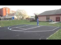 Half Court Basketball Dimensions For A Backyard by Backyard Basketball Court W Painted Lines Youtube