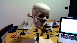 animatronics skull 3 axis first animation prima animazione youtube