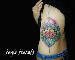watercolor tattoo lotus flower with abstract mandala colorful