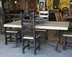 wood and wrought iron table wrought iron table base w custom wood top chairs