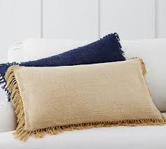 Pottery Barn Lumbar Pillow Covers Linen Fringe Lumbar Pillow Cover Pottery Barn