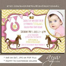 first birthday invitation pony princess horse party invitation 1st