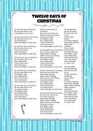 printable lyrics twelve days of christmas kids video song with free lyrics