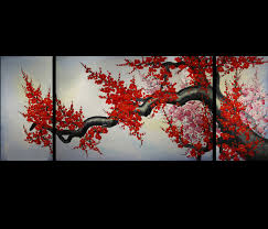 cherry blossom home decor modern wall art décor japanese cherry blossom painting feng shui