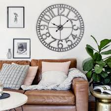 Wall Clock For Living Room by Utopia Alley 32 In Pewter Manhattan Industrial Wall Clock