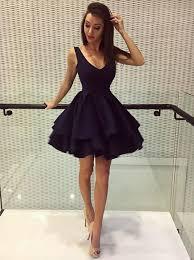 klshort black dresses a line v neck black satin homecoming dress with ruffles