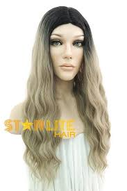 dark roots blonde hair 26 ash blonde with dark roots synthetic wig 50077 starlite hair