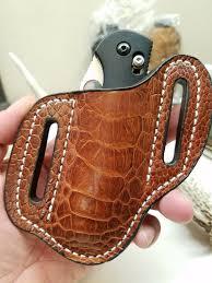 ostrich leg skin large knife sheath cognac color o v leather