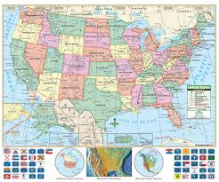 Us Timezone Map U S Political Wall Map U S Edition Identifies State Borders