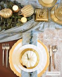 Thanksgiving Table Setting by Citrineliving Gold And Aqua Thanksgiving Table