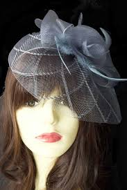 hair fascinator grey crinoline hair fascinator with clip hairband grey fascinators