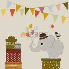 happy birthday card with elephant and colorful balloons royalty