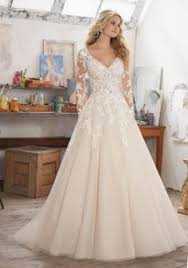 simple scalloped edge long sleeves sweep train lace wedding dress