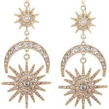 rhinestone earrings vintage sun moon rhinestone earrings boutique