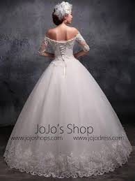 off the shoulder sleeves lace debutante ball gown wedding dress