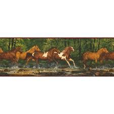 york wallcoverings lake forest lodge running horses wallpaper