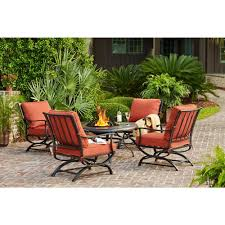 Hampton Bay Sectional Patio Furniture - hampton bay redwood valley 5 piece patio fire pit seating set with