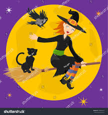 black cat halloween background flying cute halloween witch black cat stock vector 478808410