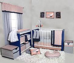 bacati noah tribal coral navy 10 pc crib set with 2 crib sheets