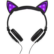 light up cat headphones amazon com wired cat ear headphones with blue led lights volume