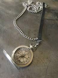 chain leather necklace images Vintage silver us military compass leather necklace vintage jules jpg