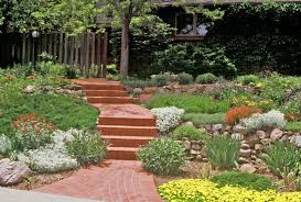 backyard slope landscaping ideas xeriscape small front yard difficult slope is tamed with stone