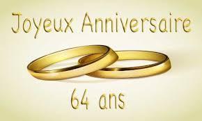 64 ans de mariage carte anniversaire mariage 64 ans bague or