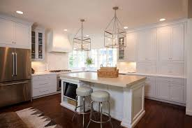 white kitchen island with gray lanterns transitional bathroom