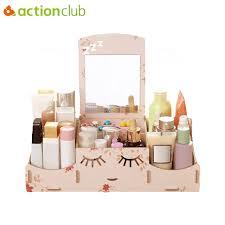 actionclub smiley wooden creative diy makeup storage box desktop cosmetic organizer case box with mirror wood