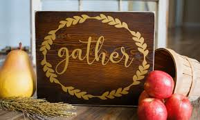 gather wood sign rustic fall home decor sign with gold