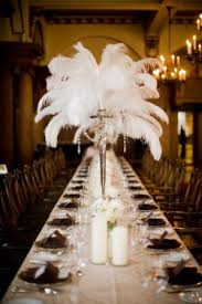 feather centerpieces vancouver club wedding with brown white black chagne color scheme