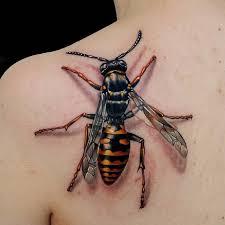 upper back simple realistic 3d bee tattoo golfian com