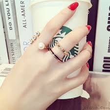 unique fashion rings images Unique different geometric knot set girls jewelry pearl midi rings jpg