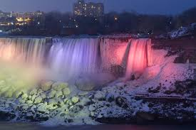 niagara falls frozen night colorful lights stock photo
