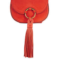 tory burch tassel mini suede leather saddlebag pure orange