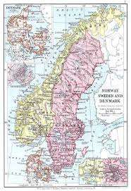 Map Of Norway Norway Sweden U0026 Denmark Map Lincoln Stamp Album 1899